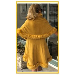 NEW LUXURY Golden Yellow Faux Fur Tiered Cape Coat